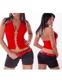 Top sexy rouge, strass sur le devant, dos nu
