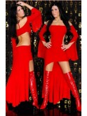 Robe longue de soirée dos nu, rouge