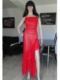 Robe longue sexy, transparente, rouge avec string