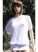 Top 2 en 1 blanc, mini robe