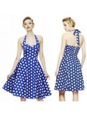 Robe vintage, rockabilly, pin-up, bleue, pois blancs