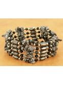 Sautoir, collier, bracelet en hématite aimantée et obsidienne