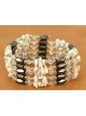 Sautoir, collier, bracelet en hématite aimantée et onyx blanc