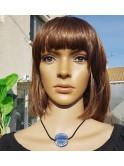 Collier perle fantaisie sur cordon de velours, bleu