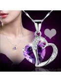 Chaîne argent sterling et pendentif  strass violet