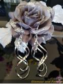 Boucles d'oreilles pendantes, métal argenté